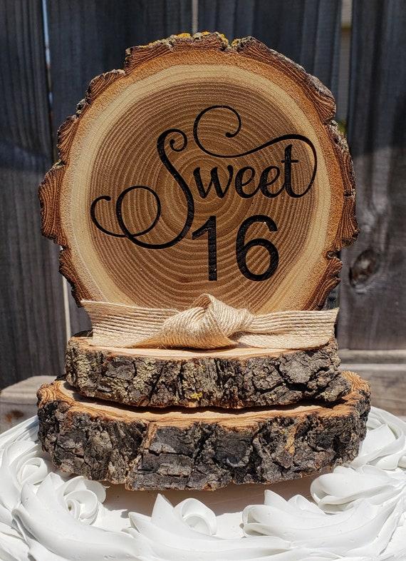Astounding Sweet 16 Birthday Cake Topper Tree Slice Cake Topper Rustic Etsy Funny Birthday Cards Online Barepcheapnameinfo