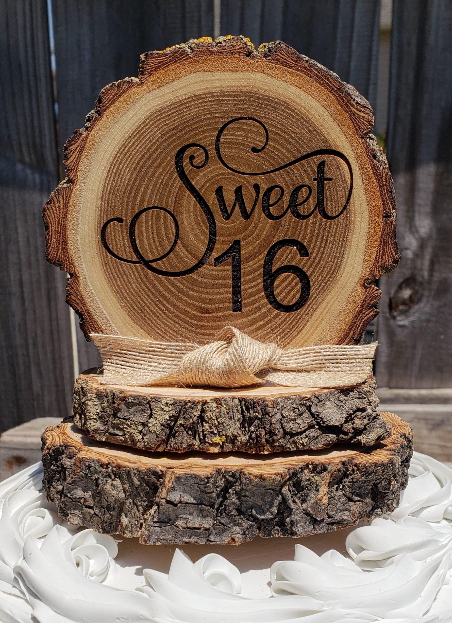 Superb Sweet 16 Birthday Cake Topper Tree Slice Cake Topper Rustic Cake Personalised Birthday Cards Veneteletsinfo