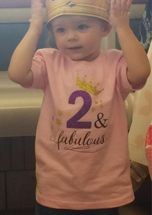 2 Year Old Birthday Shirt Princess And Fabulous Toddler Party Little Girl
