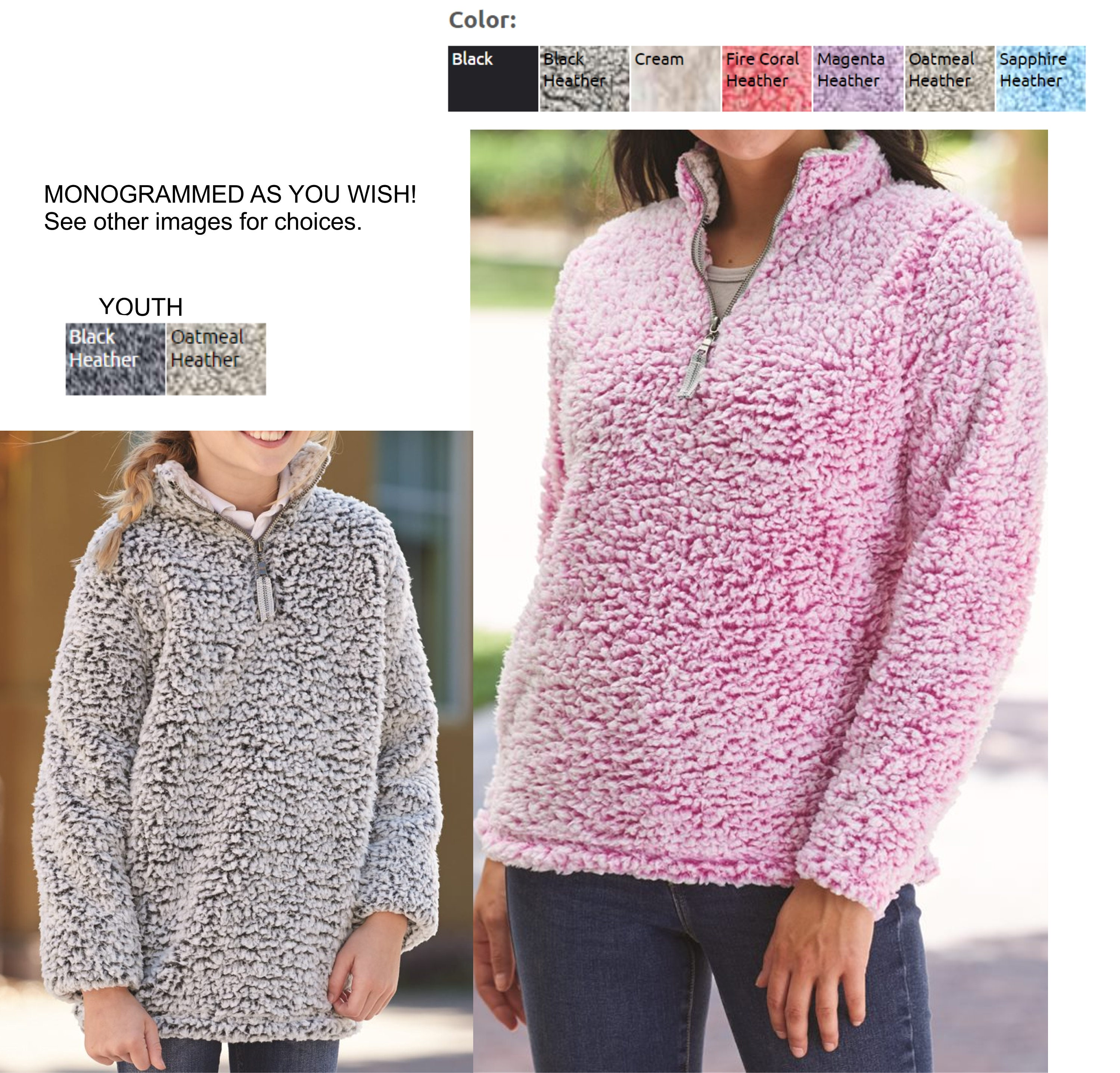 0298d628c Youth and Ladies monogrammed sherpa pullover quarter zip