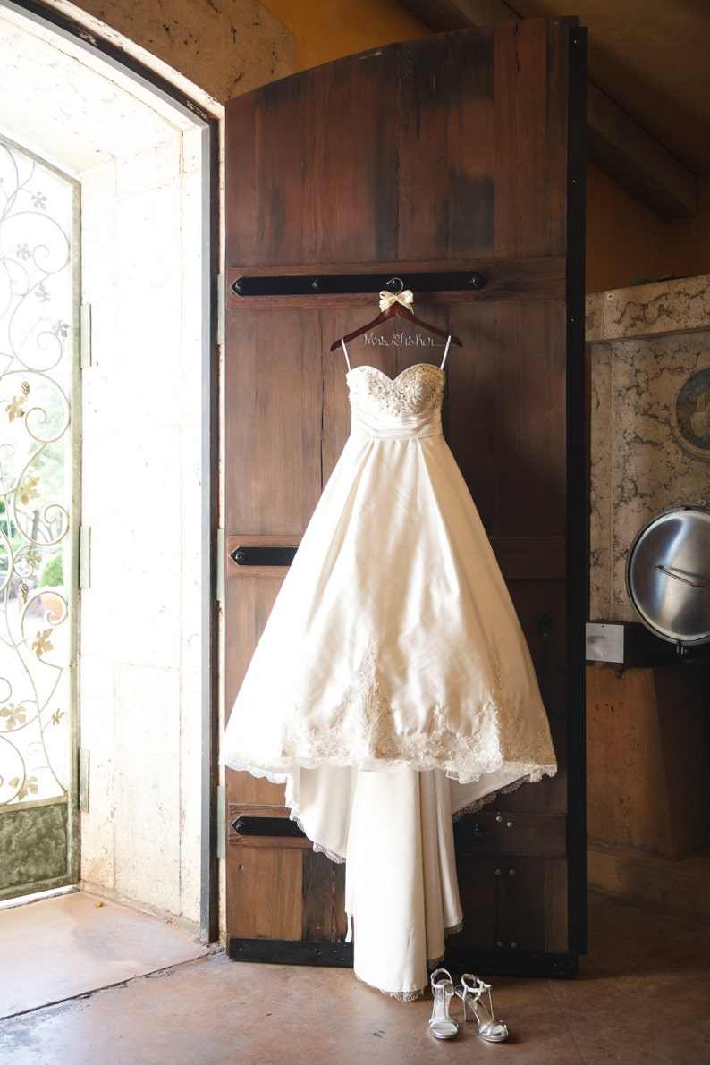 61d3c1e886f8 Wedding dress hanger bride gift Rustic wedding Rustic chic