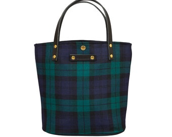 Tartan bucket tote handbag Black Watch Tartan Made in Scotland Scottish Handbag gift for her