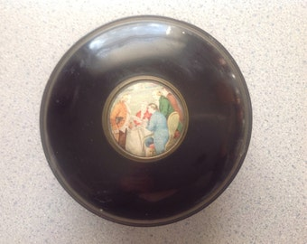 Vintage Round Tin with 1700's scene