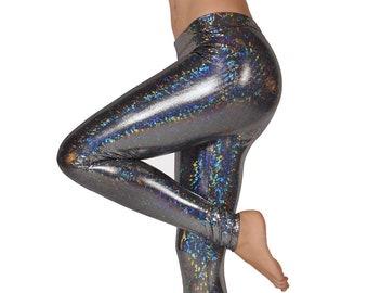 af46648b350705 Disco Sparkle Party! Women's Shiny Holograph Leggings // Disco Ball Dance  Pants Metallic Women's Legging // Burning Man Fashion