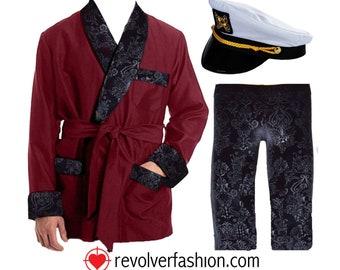 Hugh Hefner Inspired Velvet Robe & Lounge Pants // Her Costume Smoking Jacket // (Hat not included)