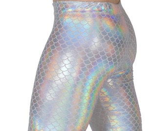 White Mermaid Leggings // White Holographic Merman Leggings & Flare Pants // Meggings
