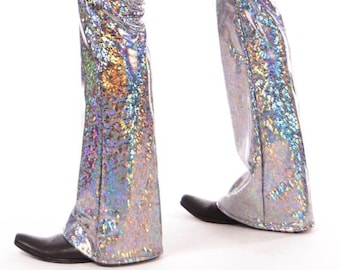 4 COLORS - Disco Ball Men's Holographic Flare Pants // 4 Colors // Metallic Mens Bell Bottoms