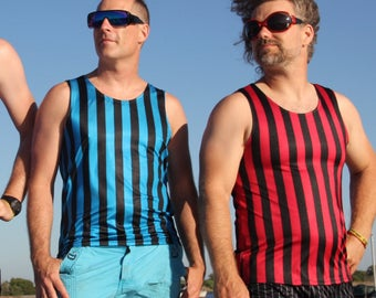 418a1009d355b Large Teal Striped Men s Tank Top    Circus Steampunk