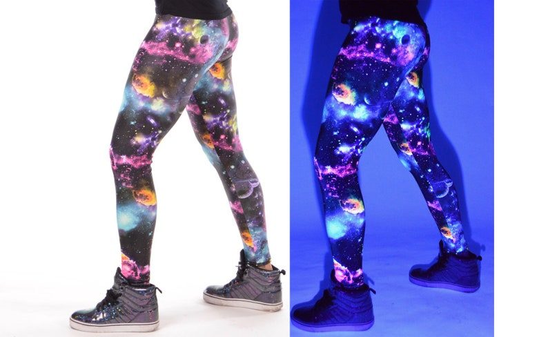 c02894874655 UV Space Men s Leggings    UV Reactive Black Light Galaxy