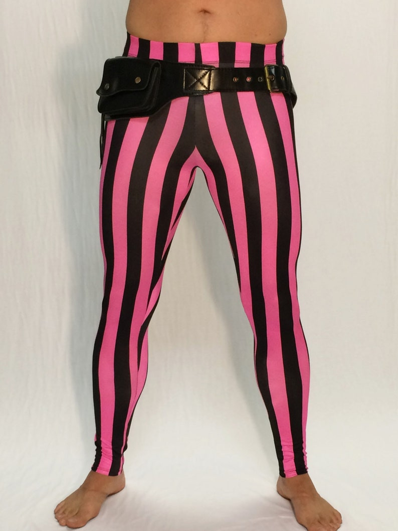 ddd379bd746bd Pink & Black Striped Circus Meggings // Steampunk Leggings //   Etsy