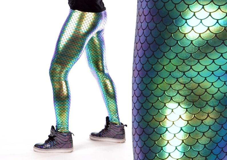 36fd2259f6652f Green Holograph Merman Leggings // Revolver Fashion Metallic | Etsy