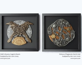 """MATCHED SET: """"Wolves of Ragnarok"""" and """"Odin's Ravens."""" Norse/Viking mythology. Cold cast, layered relief. Limited edition of 150"""