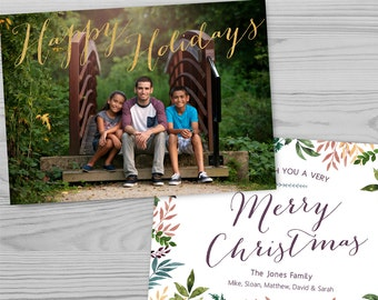 Photoshop Holiday Card Template, Customizable, Watercolor Leaves Border, Faux Gold Foil - FH1608