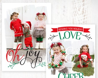 INSTANT DOWNLOAD - Oh Joy! Swash - Holiday Card Template - FD003