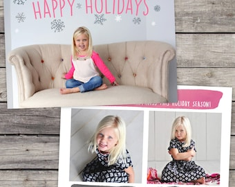 INSTANT DOWNLOAD - Watercolor Snowflakes - Holiday Card Template