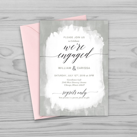 Photoshop Template Engagement Party Invitation Template Bridal Shower Invitation Template Psd Gray Watercolor And Pink Flowers Pw1901