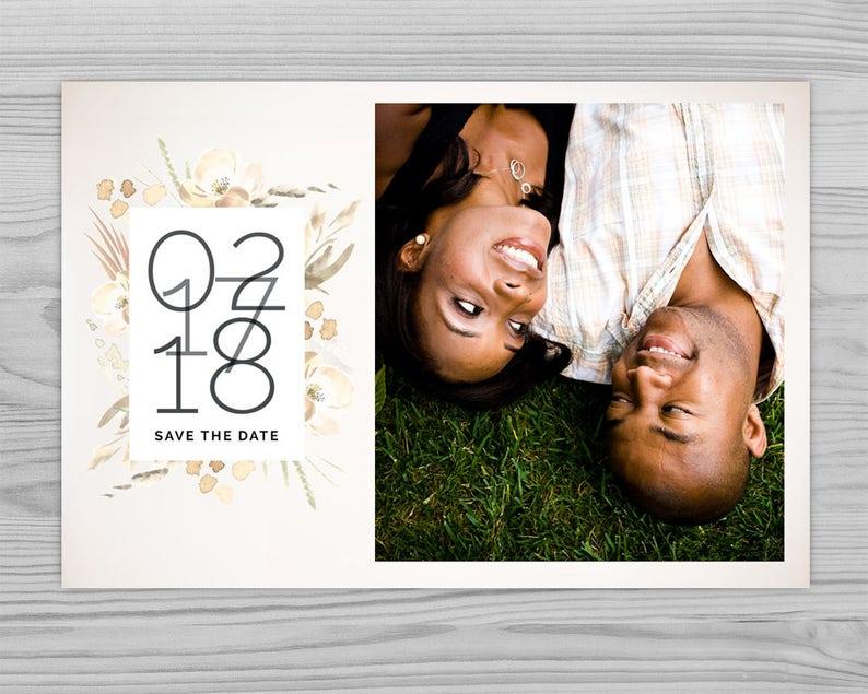 Customizable Printable Design Printable Save the Date White Flowers