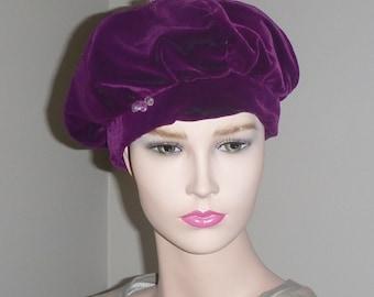 9695ec04b6bc19 Reversible Purple Velvet Beret Hat Crushed Velvet Tam 1960s Mod Fashion Cap  Vintage Jewel Tam Grape Violet Hat Cap 60s Mod Twiggy Millinery