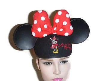 d4aa6bbda84f58 70s Vintage MINNIE MOUSE Ears Hat Cap Red & White Polka Dot Bow Disney  Mouseketeer Costume Mickey Mouse Club Cosplay Disneyland Souvenir Her