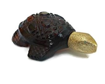 Vintage 70s Avon TURTLE Perfume Bottle Decanter 70s Charisma Bird of Paradise Cologne Fragrance Amber Glass Treasure Turtle Tortoise Decor