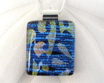 162 Dramatic Iridescent Blue Gold Filigree Fused Glass Pendant Necklace Dichroic Glass Jewelry Glass Fusion Pendant Black Glass Fused Glass