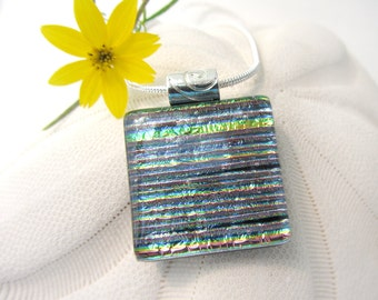 112 Pastel Pink Rainbow Pinstripes Iridescent Fused Glass Pendant Necklace Dichroic Glass Glass Fusion Pendant Crystal Pink Green Gold