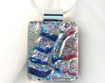 105 Iridescent Red Blue Gem Pink Opal Rainbow Fused Glass Pendant Necklace Dichroic Glass Jewelry Glass Fusion Pendant Rainbow Pink Crystal