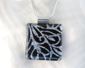 172 Dramatic Black and Silver Filigree Fused Glass Pendant Necklace Dichroic Glass Jewelry Glass Fusion Pendant Black Silver Fused Glass