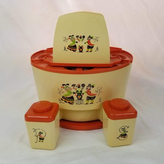 Vintage Sterilite Kitchen Canister Set Orange Lazy Susan Salt | Etsy