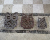SALE Vintage 3 Lot Owl Trivets from Taiwan 1950 39 s