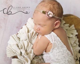 White Lace Newborn Romper photo prop with matching headband