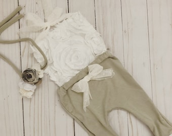 Light olive green Lace Newborn Romper tie around the neck photo prop with matching headband