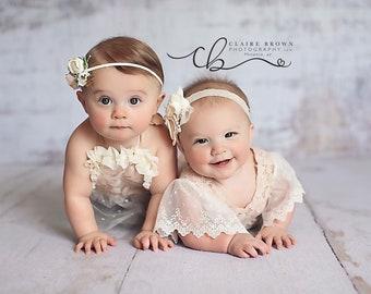 Lacey and susie romper set handmade sitter romper newborn romper photo props
