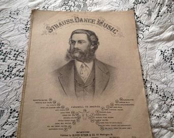 1800's Sheet Music Strauss Dance Music 10 page Lithograph