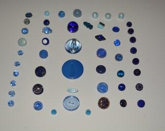 Antique Blue Glass Buttons Vintage Lot of 50