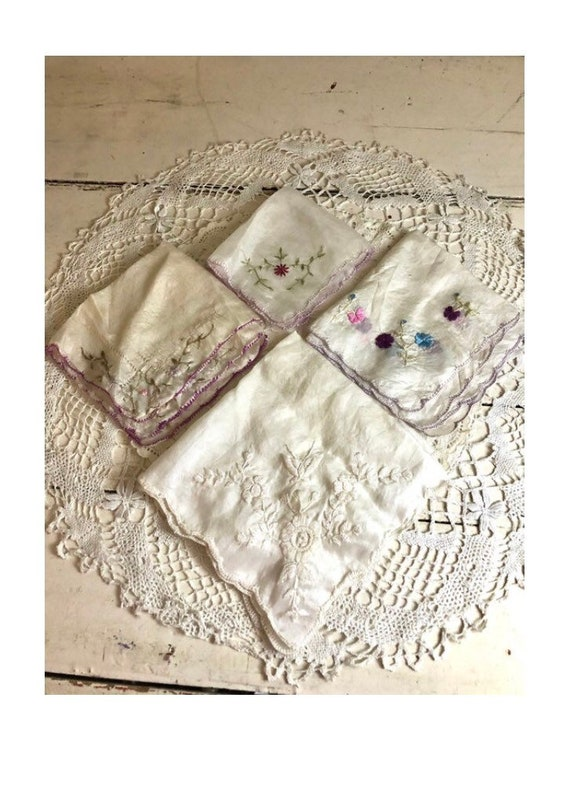 Antique Silk Hankies Embroidered Lot