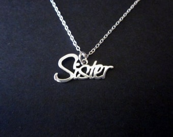 """Sterling Silver """"Sister"""" Necklace: gifts for sister, matching sister necklace"""