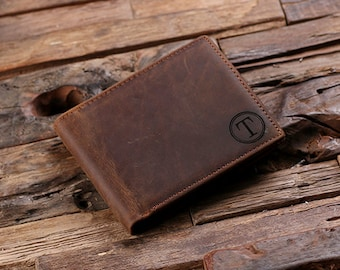 Coin Wallet Personalized Monogrammed Engraved Leather Bifold Mens Wallet Wood Gift Box Groomsmen, Best Man, Father's Day Gift