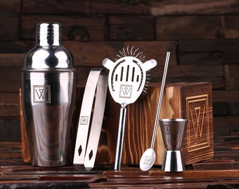 5pc Cocktail Shaker Mixer Sets with Wood Storage Box