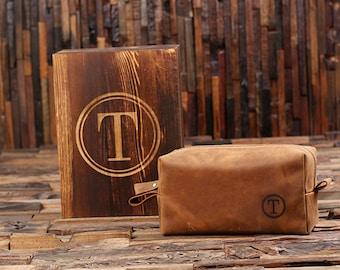 Personalized Leather Toiletry Bag, Dopp Kit, Leather Shaving Kit, Groomsmen, Father's Day Gift, Boy Friend Gift Travel Shaving Bag