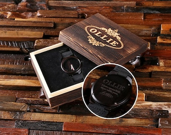 Engraved Wood Watch Personalized Custom Bamboo Leather Straps Gift for Men, Dad, Father's Day Groomsmen Watch, Wood Anniversary, Boyfriend