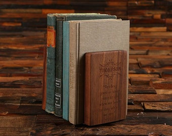 Personalized Black Walnut Wood & Gold Brass Engraved Bookend Gift Set 027049