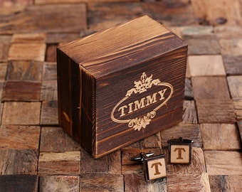 Best Man Father/'s Day Gift Silver Personalized Men/'s Classic Cuff Link Wood Inserts Monogrammed Engraved with Optional Gift Box Groomsmen