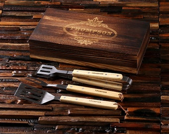 4pc Personalized Personalized Grill Tool Set Laser Engraved Barbecue BBQ Customized Family Grill Holiday Gift Set Monogrammed