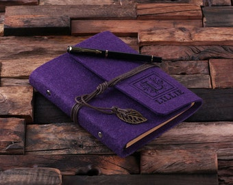 Purple Monogrammed Personalized Felt Engraved Notebook Diary, Journal, Sketchbook , Bridesmaid Holiday Christmas Customized Gift