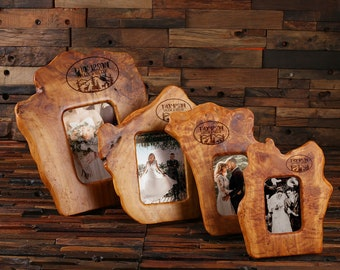 Personalized Natural Wood Shape Photo Frames