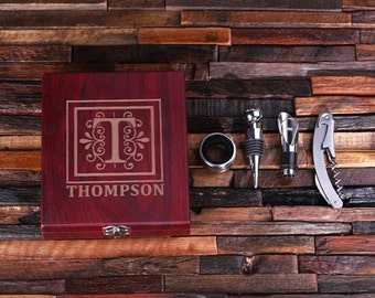 Personalized 5pc Wine Accessories Tool Kit Gift Set Engraved or Monogrammed on Wood  Not Cheap Looking (024348)