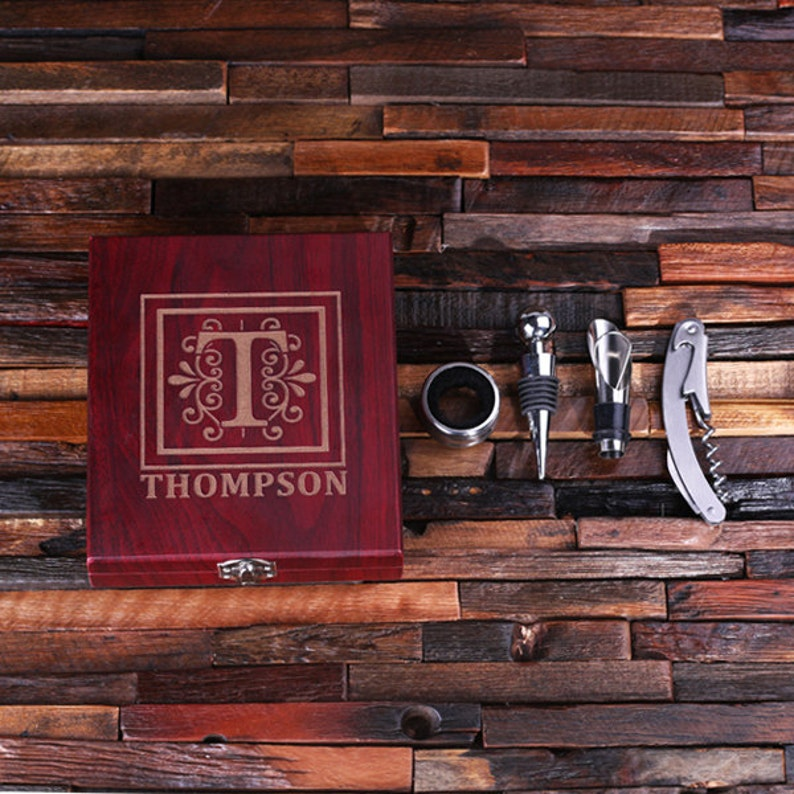 Personalized 5pc Wine Accessories Tool Kit Gift Set Engraved image 0