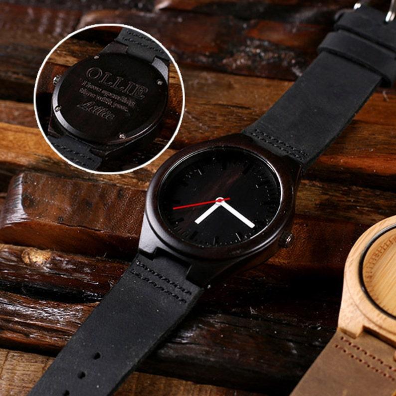 9dcc8b2a7747 Reloj madera grabado personalizado de bambú personalizado