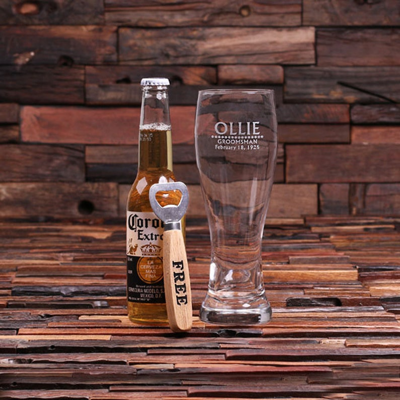 24 oz  Pilsner Beer Glass with FREE Wood Bottle Opener Personalized and  Engraved (024699)